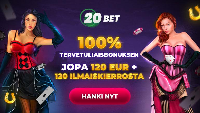 100% tervetuliaisbonusksen jopa 120 eur + 120 ilmaiskierrosta