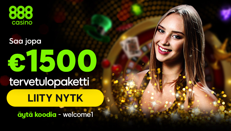 888 Casino - BONUSPAKETTI €1500 Koodi: Welcome1 (5 Talletukset)
