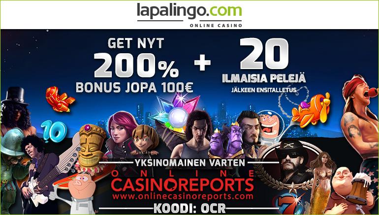 Lunasta 10€ ilman talletusta ja 200% tervetuliaistarjous Lapalingo Casinolla