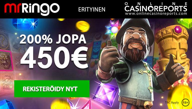 Lunasta paranneltu 200% tervetuliaisbonus yksinomaisesti Mr Ringo Casinolla