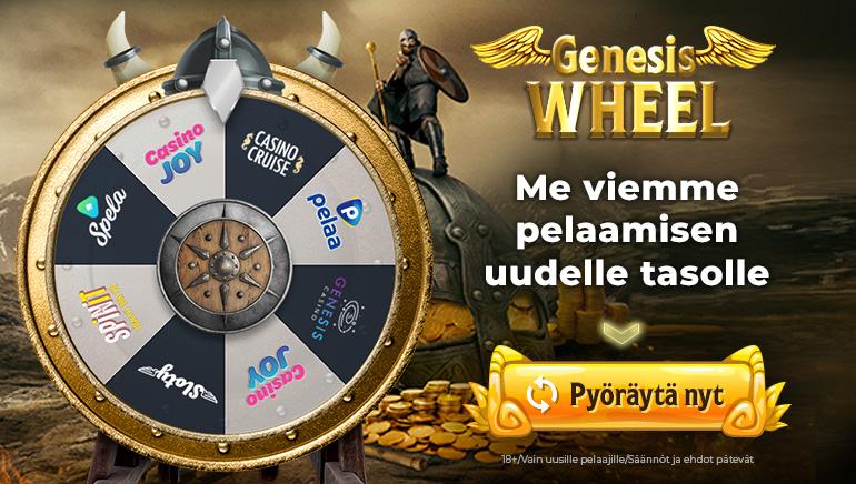 Pyöräytä Wheel of Genesisiä ja saa valtavat tervetuliaistarjoukset