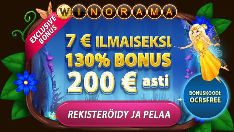 Saat 7€ Ilmaista rahaa + 130 % bonuksen aina 200 € asti Winorama Casinolta