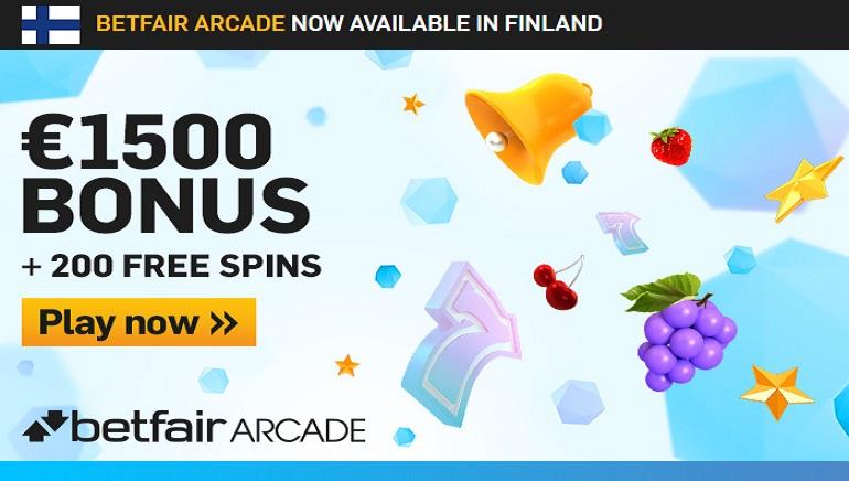 Betfair Arcade Bonus: 1500€ + 200 ilmaiskierrosta satojen pelien pelaamiseen