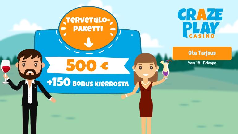 CrazePlay Kasinon valtava €500 tervetuliaistarjous + 150 ilmaiskierrosta