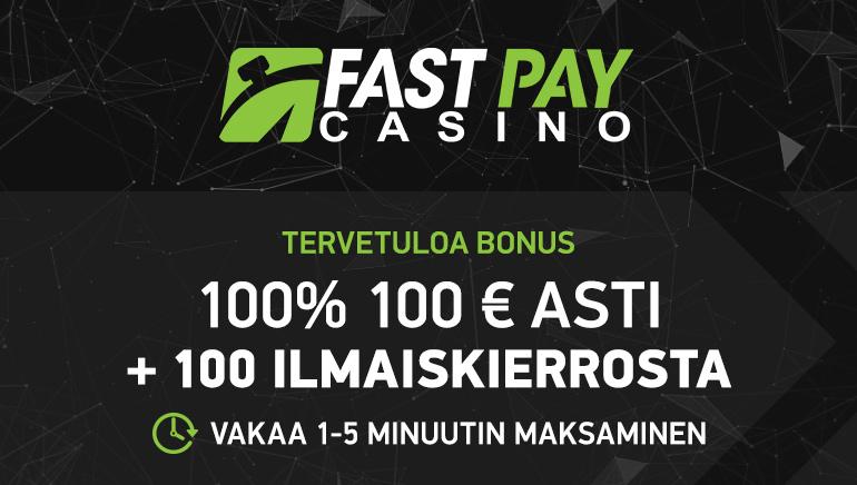 100€ bonus & 100 ilmaiskierrosta FastPay Kasinon uusille pelaajille