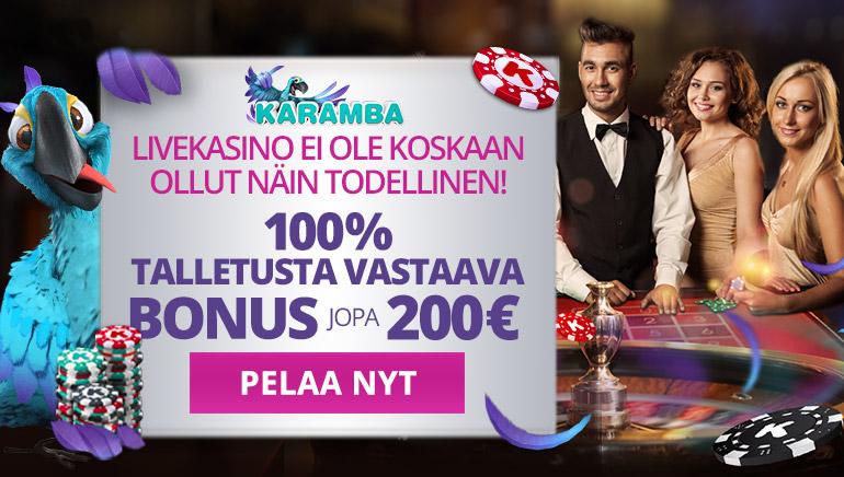 Koe livekasinopöydät Karamba Casinon erityisellä kasinobonuksella
