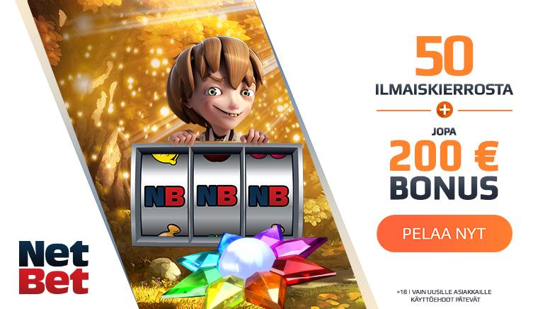 Koe NetBet Casino 50 ilmaiskierroksen ja 200€ tervetuliaisbonuksella