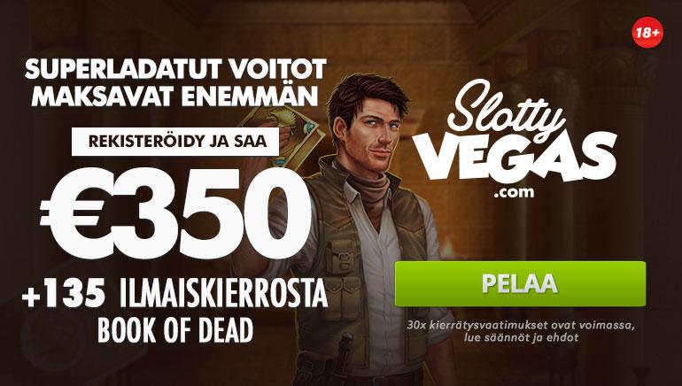 Slotty Vegas tarjoaa 350€ tervetuliaisbonuksen + 135 ilmaiskierrosta Book of Deadiin