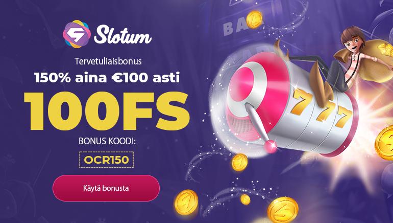 Slotum Casino Exclusiivinen Tervetulo Toivotus: 150% aina 100€ asti & 100 Ilmaiskierrosta