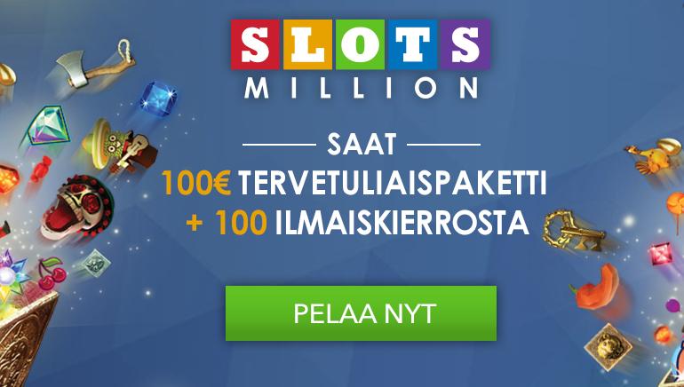 Aloita näyttävästi SlotsMillion Casinon tervetuliaisbonuksella