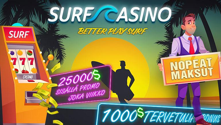 Surf Casino - BONUSPAKETTI €1000 + EI-TALLETUS FS50 Koodi: OCR Ilmainen bonusraha