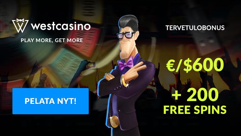 Liity West Casinolle ja saat 600€/$ + 200 ilmaiskierroksen tervetuliaispaketin