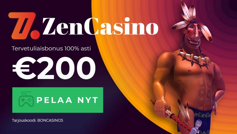 Aloita seikkailusi Zen Casinolla 100% tervetuliaisbonuksella 200€ asti